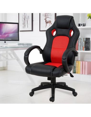 ISE Fauteuil de bureau Chaise de bureau Fauteuil ergonomique - Coloris rouge SY-6002RE