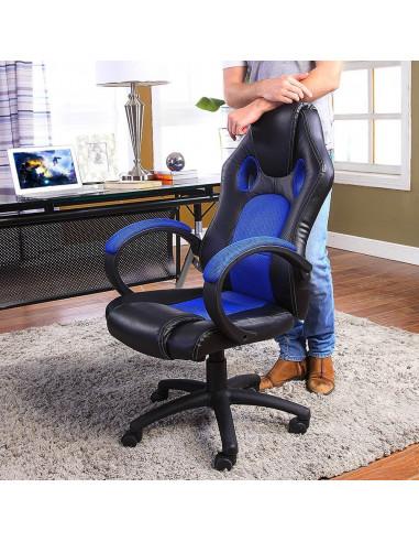 ISE Fauteuil de bureau Chaise de bureau Fauteuil ergonomique - Coloris bleu SY-6002BL