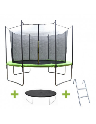 ISE Trampoline Rond avec Filet de Protection et Echelle 14FT SY-1104