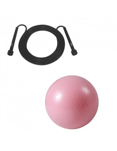 ISE Lot corde à sauter réglable 3m et ballon de gymnastique (rose) 55cm de diamètre avec pompe