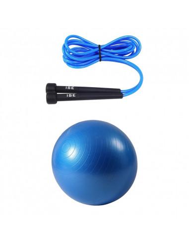 ISE Lot corde à sauter réglable 3m et ballon de gymnastique (bleu) 75cm de diamètre avec pompe