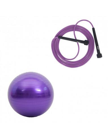 ISE Lot corde à sauter réglable 3m et ballon de gymnastique (violet) 55cm de diamètre avec pompe