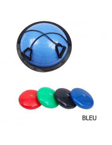 ISE Lot d'une demi balle bosu multifonctionnelle et coussin d'équilibre bleu