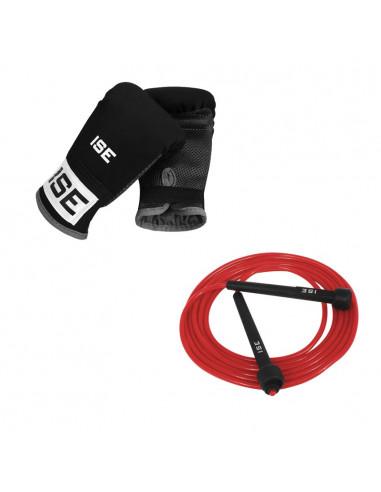ISE Lot corde à sauter rouge et gants de combat
