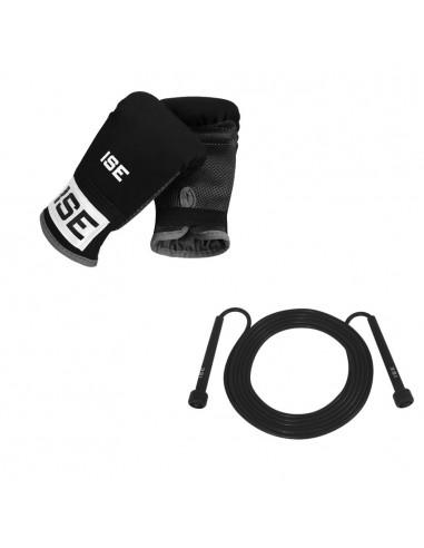 ISE Lot corde à sauter (coloris noir) et gants de combat