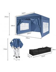 ISE 3x3m Tonnelle de Jardin Tente Réception Pavillon Aluminium Pliable ZP3001BL