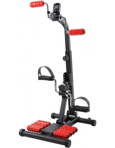 ISE Mini Vélo d'Appartement - Pédalier et manivelle avec Résistance Réglable - Ecran LCD Appareil Fitness
