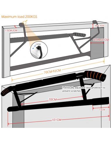 barre d/'entra/înement YOUSIS Barre de traction portative pour porte de remise en forme salle de sport porte multifonction sans vis barre horizontale int/érieure