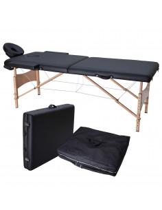 ISE Table de Massage Pliante 2 Zones en Bois Couleur Noir