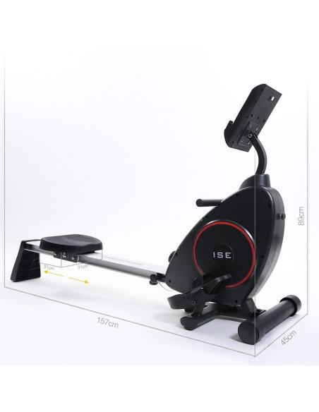 ISE Rameur d'appartement Rameur à air pliable appareil de fitness musculation cardio training - 8 Niveaux de résistance SY-15002