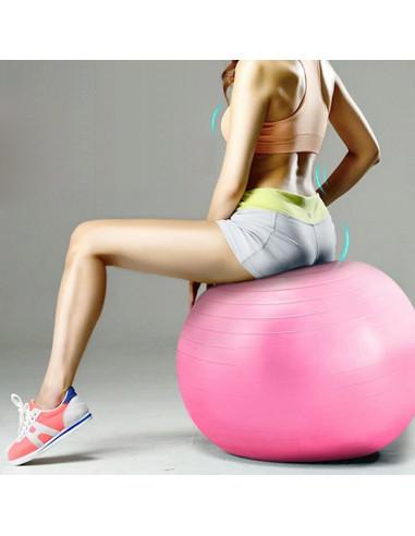 ISE Ballon de gymnastique Anti-éclatement - Ballon d'exercice 45cm de diamètre avec Pompe Rose SY-2002RS55-FR