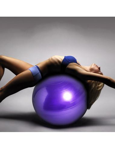 ISE Ballon de gymnastique Anti-éclatement - Ballon d'exercice 45cm de Diamètre avec Pompe Violet SY-2003PP55-FR