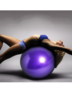 ISE Ballon de gymnastique Anti-éclatement - Ballon d'exercice 65cm de Diamètre avec Pompe Violet SY-2003PP75-FR