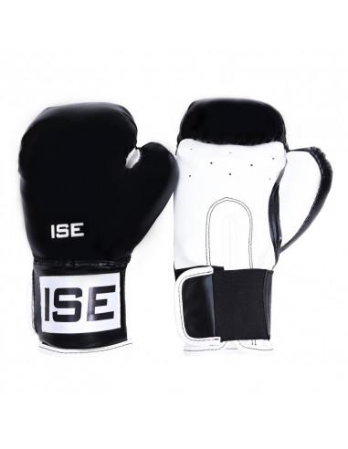 ISE Gants de Boxe SIMILICUIR 12 oz Noir Entraînement Muscles Protection SY1201