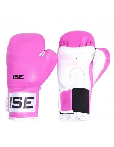 ISE Gants de Boxe SIMILICUIR 12oz Rose Gants de Entraînement Muscles Protection SY1202